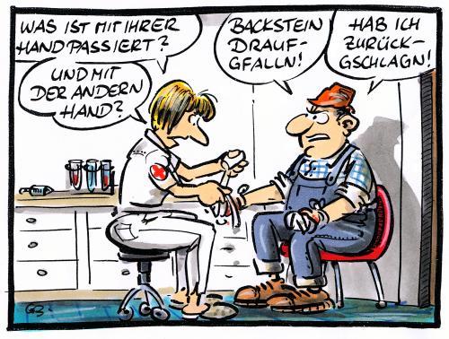 Bauarbeiter bei der arbeit comic  von GB | Philosophie Cartoon | TOONPOOL