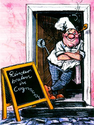 Cartoon: ... (medium) by GB tagged menue,spezialitäten,speiselokal,restaurant,nahrung,gourmet,promille,schnaps,gastronomie,alkohol,essen,kochen,koch,kochen,koch,gastronomie,essen,nahrung,ernährung,lebensmittel,beruf,karriere,arbeit,küche,restaurant,rinderbraten,alkohol,trinken,getränk,betrunken,gourmet,promille,schnaps,speiselokal,spezialitäten,fleisch