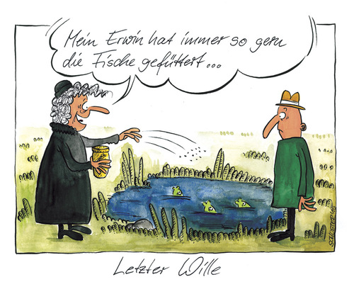 Cartoon: Letzter Wille (medium) by Mario Schuster tagged karikatur,cartoon,mario,schuster