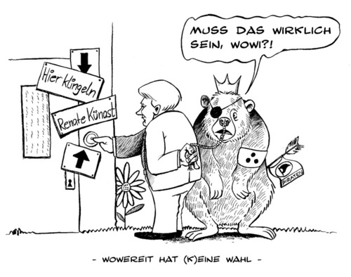 Cartoon: Wowereit hat keine Wahl... (medium) by Mario Schuster tagged karikatur,cartoon,mario,schuster,wowereit,berlin,künast,wahl,gera,greiz