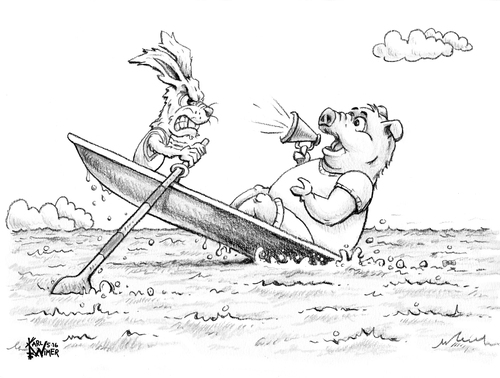 Cartoon: Create Own Caption Contest (medium) by karlwimer tagged boat,pig,rabbit,crew,water,animals