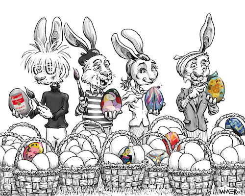 Cartoon: Easter Egg Artist create caption (medium) by karlwimer tagged easter,egg,artist,painting,warhol,picasso,okeefe,van,gogh,rabbits