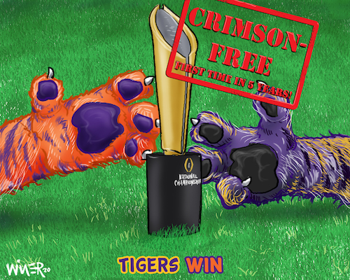 Cartoon: Paws on the Prize NCAA Football (medium) by karlwimer tagged wimer,ncaa,football,championship,clemson,lsu,alabama,college,tiger