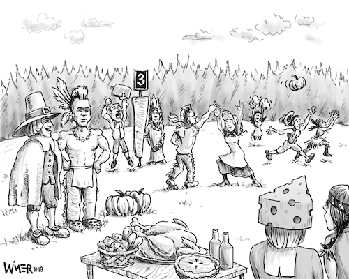 Cartoon: Thanksgiving Alternative Sport (medium) by karlwimer tagged thanksgiving,football,sport,pilgrims,indians