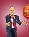 Cartoon: BAC Magazine Cover Billups (small) by karlwimer tagged basketball,coach,player,hoops,du,denver,billups,ball