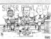 Cartoon: Sitting Out the Super Bowl (small) by karlwimer tagged super,bowl,football,championship,us,pepsi,fedex,automobiles,cars,business,economics,advertising