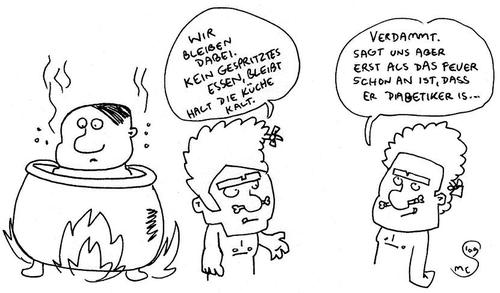 Cartoon: gespritztes essen (medium) by XombieLarry tagged kannibalen,kochtopf,diabetiker