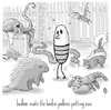 Cartoon: birdbee - zoo (small) by birdbee tagged birdbee skunk porcupine octopus bat snake lobster rat zoo