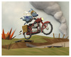 Cartoon: Crossing No Mans Land (small) by birdbee tagged dog war motorcycle messenger lowpoly 3d