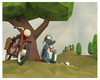 Cartoon: Lunch Break (small) by birdbee tagged messenger,dog,motorcycle,war,lunch,lowpoly,3d