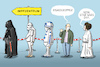 Cartoon: Star Wars Day (small) by leopold maurer tagged star,wars,day,may,the,force,forth,impfzentrum,kostüme,warteschlange,risikogruppe,fan,darth,vader,stormtrooper,r2d2,leia,corona,covid,pandemie,impfung,leopold,maurer,karikatur,cartoon,comic,illustration