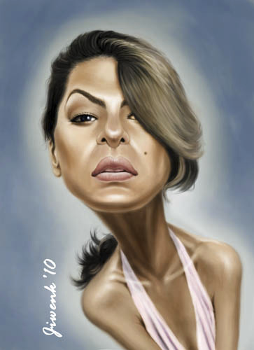 Cartoon: Eva Mendes (medium) by Jiwenk tagged eva,mendes