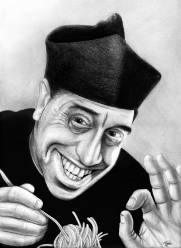Cartoon: Don Camillo loves Pasta (medium) by Stefan Kahlhammer tagged caricature,flankalan,flankale,karikatur,kahlhammer,fernandel,don,camillo,pizzapitch,spaghetti,pizza,pitch,don camillo,karikatur,pasta,spaghetti,nudeln,essen,restaurant,don,camillo