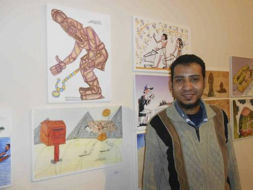 Cartoon: With my paintings (medium) by omar seddek mostafa tagged omar,seddek