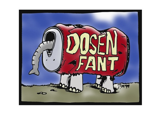 Cartoon: Dosenfant (medium) by timfuzius tagged dosenpfand,elefant,dose,can,rüssel,recycling