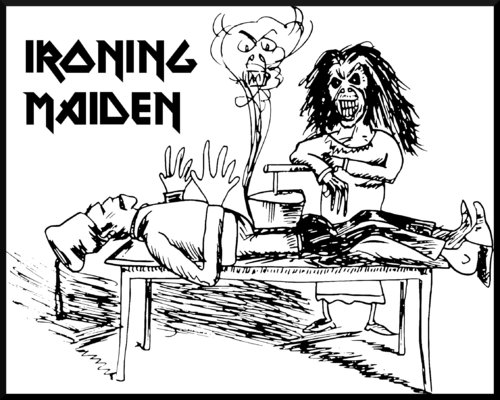 Cartoon: IRONING MAIDEN (medium) by timfuzius tagged maiden,metal,busch,bügeleisen,max,moritz,iron
