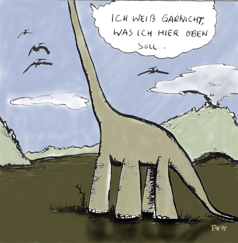 Cartoon: Langhals (medium) by timfuzius tagged groß,hals,urzeit,dinosaurier,dino