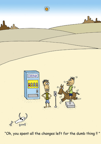 Cartoon: Desert (medium) by joruju piroshiki tagged desert,drink,vending,machine,coin,change,wüste,automat,durst