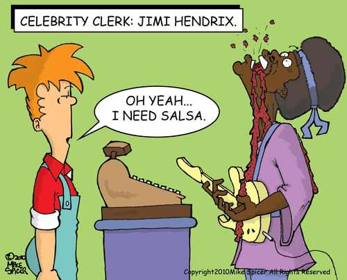 Cartoon: Celebrity Clerk Jimi Hendrix (medium) by Mike Spicer tagged mike,spicer,cartoonist,caricature,humour,hendrix,celebrity,clerk,cartoon