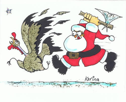 Cartoon: Christmas Dinner (medium) by Kerina Strevens tagged cartoon,humour,fun,run,slaughter,dinner,turkey,father,santa,xmas,christmas