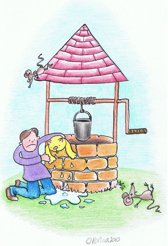 Cartoon: Ding Dong Bell (medium) by Kerina Strevens tagged die,dead,kill,wet,rescue,mice,cat,water,well