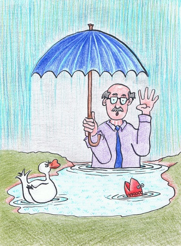 Cartoon: Dr Foster (medium) by Kerina Strevens tagged rhyme,nursery,wet,water,middle,puddle,foster,doctor