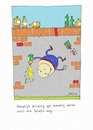 Cartoon: Why Humpty Dumpty Fell. (small) by Kerina Strevens tagged humpty,dumpty,wall,fall,alcohol,drink,spill