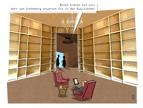 Cartoon: Bibliothek (medium) by Jan Rieckhoff tagged ebook,reader,kindle,tolino,buch,bibliothek,epub,download,lesen,amazon,thalia,cartoon,karikatur,witz,jan,rieckhoff,ebook,reader,kindle,tolino,buch,bibliothek,epub,download,lesen,amazon,thalia,cartoon,karikatur,witz,jan,rieckhoff