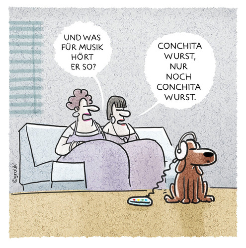 Cartoon: ... (medium) by markus-grolik tagged euro,european,song,contest,esc,wurst,musik,hund,pop,mp3,kopfhörer,damen,wauwau,wau,haustier,cartoon,grolik,euro,european,song,contest,esc,wurst,musik,hund,pop,mp3,kopfhörer,damen,wauwau,wau,haustier,cartoon,grolik