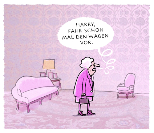 Cartoon: ...im Hochzeitsfieber... (medium) by markus-grolik tagged queen,harry,meghan,hochzeit,england,grossbritannien,london,monarchie,könig,prinz,königsfamilie,windsor,queen,harry,meghan,hochzeit,england,grossbritannien,london,monarchie,könig,prinz,königsfamilie,windsor