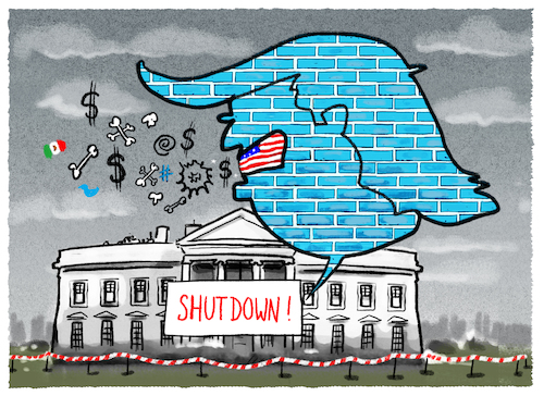 Cartoon: ..Notstand... (medium) by markus-grolik tagged trump,shutdown,mauer,usa,mexiko,wall,donald,trump,shutdown,mauer,usa,mexiko,wall,donald