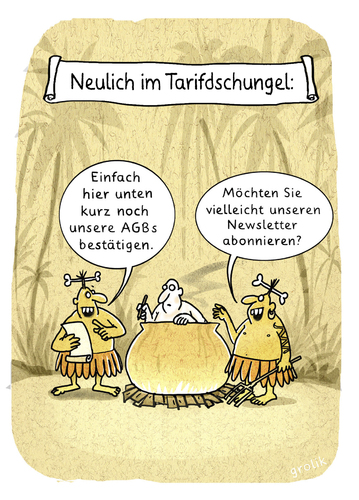 Cartoon: UNTER KANNIBALEN (medium) by markus-grolik tagged kannibalen,kochshow,kochen,feuer,abonnement,newsletter,tarifdschungel,cartoon,dschungel,tarif,grolik,geschäftsbedingungen,allgemeine,agb,menschenfresser,kochtopf,urwald