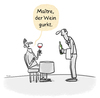 Cartoon: Der Sommelier... (small) by markus-grolik tagged sommelier,wein,korken,kork,rotwein,chablis,genuss,weinkenner,cartoon,grolik
