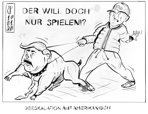 Cartoon: Der will doch nur spielen (medium) by Justen tagged usa,iran,trump,soleimani,usa,iran,trump,soleimani