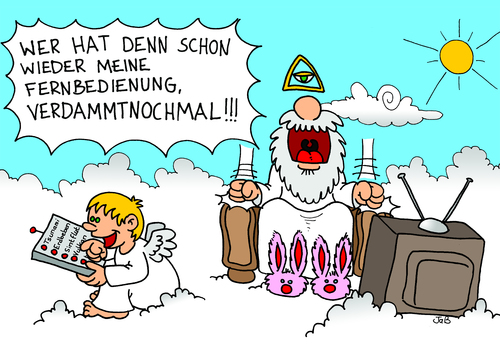 Cartoon: göttliches Wetter (medium) by Bruder JaB tagged gott,engel,klimawandel,unwetter,katastrophen,fernbedienung