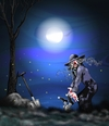 Cartoon: Das Verbrechen (small) by petwall tagged verbrechen,clown,nacht,grab