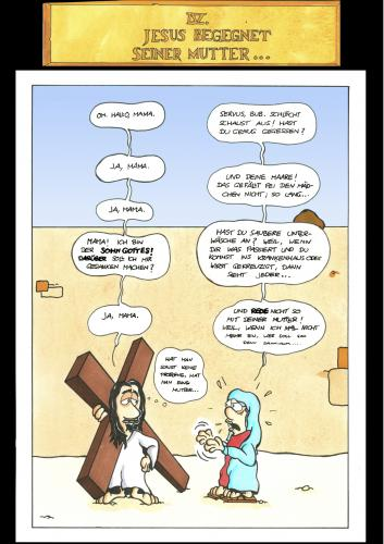 Cartoon: Passion Part 4 (medium) by Marcus Trepesch tagged religion,passion,gibson,jesus