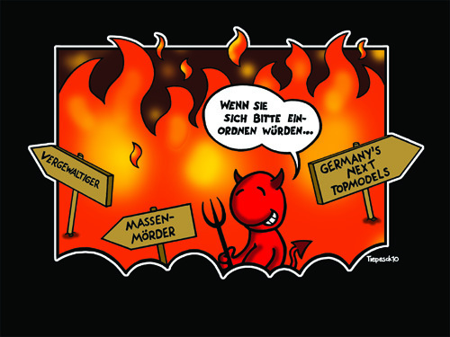 Cartoon: Welcome To Hell (medium) by Marcus Trepesch tagged hell,devil,satan,heidi,klum