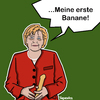 Cartoon: Her First Banana. (small) by Marcus Trepesch tagged angela,merkel,titanic,banane,dildo,sex,porn,politics
