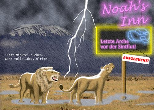 Cartoon: Last minute (medium) by Michael Böhm tagged bible,animal,flood,cartoon,lion,noah,bibel,löwe,flut,arche,sintflut