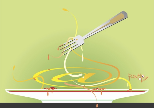 Cartoon: spaghetti (medium) by Tonho tagged spaghetti
