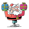 Cartoon: Santa Claus (small) by bindslev tagged merry,santa,claus,cards,greetings,father,christmas,elf,xmas,wish,humor,glad,hat,smile,happy,holiday,mustache,red,uniform,illustration,graphic,comic,cartoon,presents,present