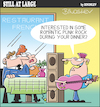 Cartoon: Still at large 108 (small) by bindslev tagged serenade,serenading,serenades,romantic,dinner,dinners,romance,romances,punk,rock,rocker,rockers,live,music,french,restaurant,restaurants,posh,taste,musical