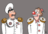 Cartoon: Epaulets and cakes (small) by Vasiliy tagged politics,army,general,epaulets,clown,cake,joke,war,peace,title,recognition,reward,excellence,officer,uniform,smile