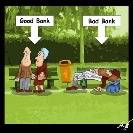 Cartoon: Bad Bank (medium) by Anjo tagged bad,bank