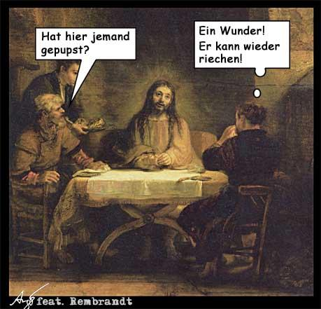 Cartoon: Ein Wunder (medium) by Anjo tagged jesus,wunder,pups,riechen,rembrandt,emmaus