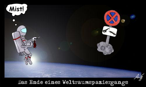 Cartoon: Ende eines Weltraumspaziergangs (medium) by Anjo tagged all,space,shuttle,weltraum,spaziergang,parkverbot