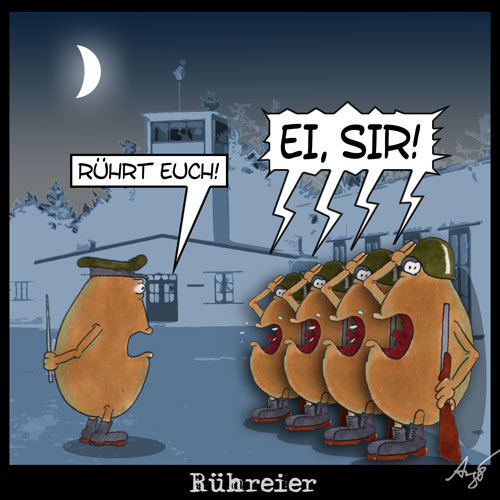 Cartoon: Rühreier (medium) by Anjo tagged eier,rühreier,militär,ostern