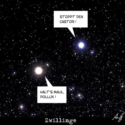 Cartoon: Zwillinge (medium) by Anjo tagged zwillinge,akw,pollux,atom,castor