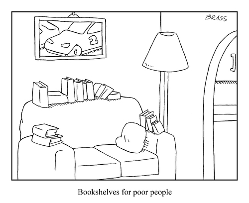Cartoon: bookshelves (medium) by creative jones tagged reading,library,books,people,poor,bookshelves,bookshelves,poor,people,books,library,reading